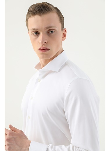 Damat Slim Fit Düz Gömlek Beyaz